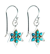 Turquoise Star of David Earrings