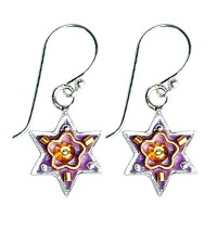 Star of David Earrings - Purple