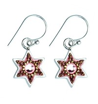 Enamel Pink Star of David Earrings with Swarovsky Crystals