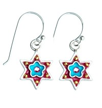 Blue Flower Star of David Earrings with Swarovsky Crystals