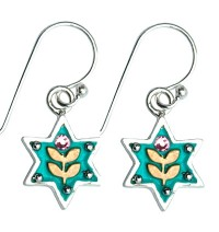 Enamel and Silver  Star of David Earrings - Golden Leaves