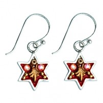 Enamel and Silver Star of David Earrings - Royal Red