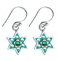 Flower Design Star of David Earrings with Swarovsky Crystals
