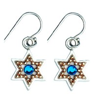 Enamel Star of David Earrings with Swarovsky Crystals