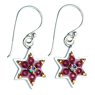 Enamel and Silver Red Rose Star of David Earrings