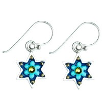 Enamel Star of David Earrings - Flower