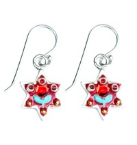 Flower Design Star of David Earrings