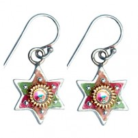 Colorful Star of David Earrings