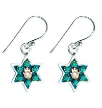 Enamel Star of David Earrings with Hamsa