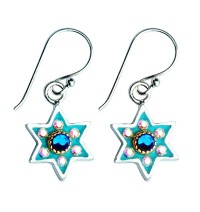 Enamel with Swarovsky crystals Star of David Earrings