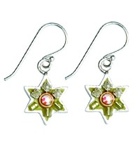 Enamel and Silver Star of David Earrings - Green