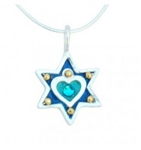 Small Heart Star of David Necklace