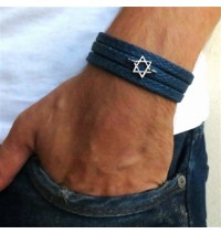 Blue Rope Triple Wrap Men's Bracelet with Oxidized Silver-Plated Star of David Element