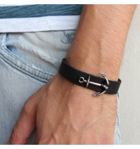 Black Leather Men's Bracelet with Oxidized Silver-Plated Anchor Element