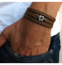 Tan Rope Triple Wrap Men's Bracelet with Oxidized Silver-Plated Star of David Element