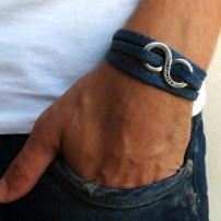 Blue Rope Triple Wrap Men's Bracelet with Oxidized Silver-Plated Infinity Element