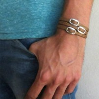 Tan Rope Triple Wrap Men's Bracelet with Three Oxidized Silver-Plated Buckle Elements
