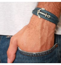 Blue Rope Triple Wrap Men's Bracelet with Oxidized Silver-Plated Anchor Element