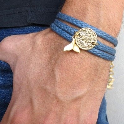Blue Rope Triple Wrap Men's Bracelet with 24k Gold-Plated Coin & Whale's Tail Element