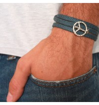 Blue Rope Triple Wrap Men's Bracelet with Oxidized Silver-Plated Peace Symbol