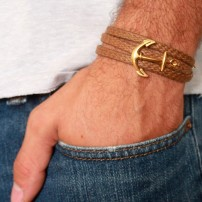 Tan Rope Triple Wrap Men's Bracelet with 24k Gold-Plated Anchor Element