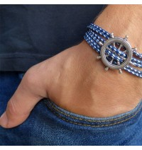 Blue and White Rope Triple Wrap Men's Bracelet with Oxidized Silver-Plated Helm