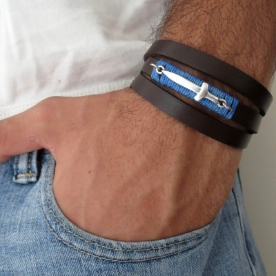 Chocolate Leather Triple Wrap Men's Bracelet with Oxidized Silver-Plated Sword and Blue Thread