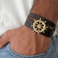 Chocolate Leather Triple Wrap Men's Bracelet with Oxidized Silver-Plated Helm Element