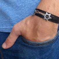 Black String Triple Wrap Men's Bracelet with Oxidized Silver-Plated Star of David