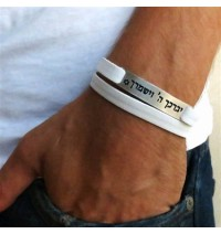 White Leather Triple Wrap Men's Bracelet with Oxidized Silver-Plated Verse