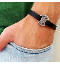 Black Leather Men's Bracelet with Oxidized Silver-Plated Kabbalistic Words