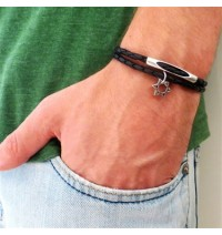 Black Leather Double-Wrap Men's Bracelet with Oxidized Silver-Plated Star of David and Cylinder