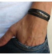 Black Leather Triple-Wrap Men's Bracelet with Oxidized Silver-Plated Shema Israel Plaque by Gal Cohen