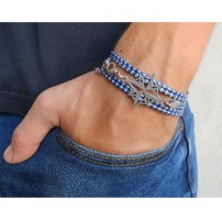 Blue and White Rope Triple Wrap Men's Bracelet with Oxidized Silver-Plated Compass Element by Gal Cohen