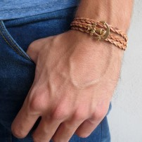 Tan Braided Leather Triple Wrap Men's Bracelet with 24k Gold-Plated Anchor Element by Gal Cohen