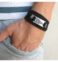 "Braided Black Leather Triple Wrap Men's Bracelet with Oxidized Silver-Plated ""Live Your Dream"" Plaque by Gal Cohen"