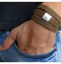 Chocolate Imitation Suede Triple Wrap Men's Bracelet with Oxidized Silver-Plated Square by Gal Cohen