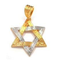 Gold Filled Textured Two Tone Star of David Pendant