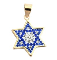 Blue Sapphire and Zircon Star of David Pendant