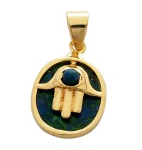Circle Hamsa Pendant with Azurite