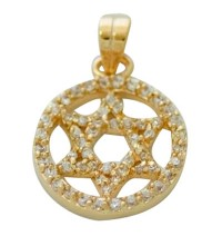 Circle Star of David Pendant