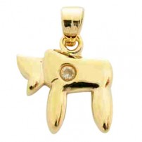 Gold Filled Chai Pendant with zirconium stud