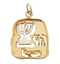Gold Filled Menorah Chai Pendant