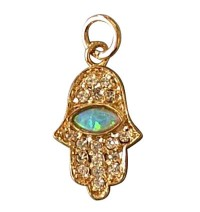 Gold Filled Opal Zirconium Hamsa Pendant
