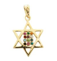 Gold Filled Twelve Tribes Star of David Pendant