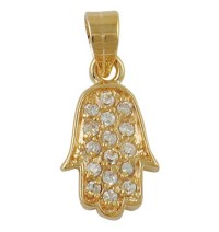 Gold Filled Zirconium Hamsa Pendant