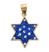 Zircon Blue Sapphire Star of David Pendant