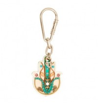 Decorated Hamsa Hand Key Chain