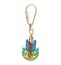 Colorful Hamsa Hand Key Chain with flowers