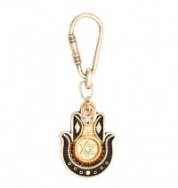 Black & Gold Hamsa Hand Key Chain